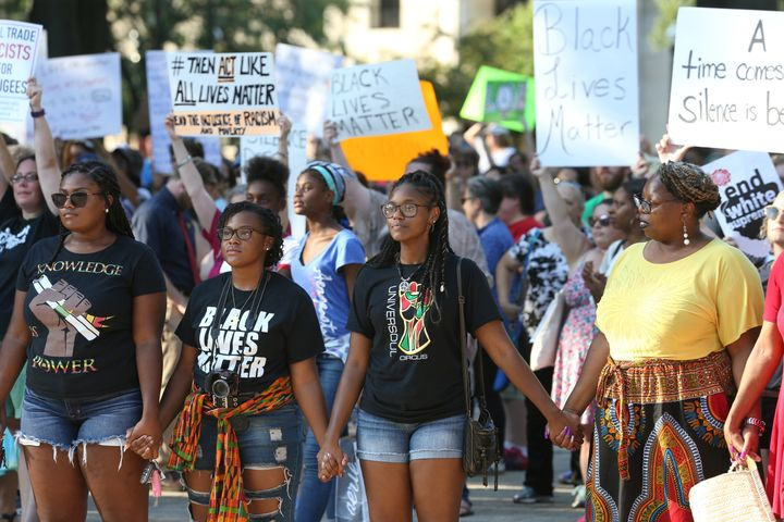 Activists gather during a Black Lives Matter rally in Charleston, West Virginia, on Aug. 20.