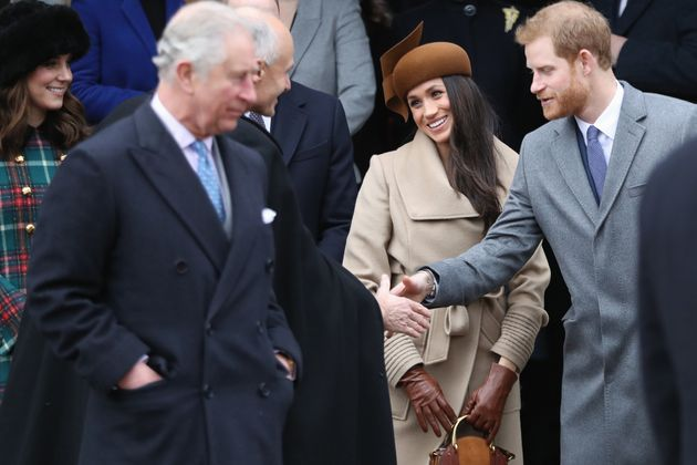 Meghan Markle with Prince Charles and Prince Harry at a Christmas Day church