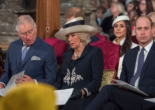 Prince Charles, left, will walk Meghan Markle, second from right, down the aisle at her royal wedding...