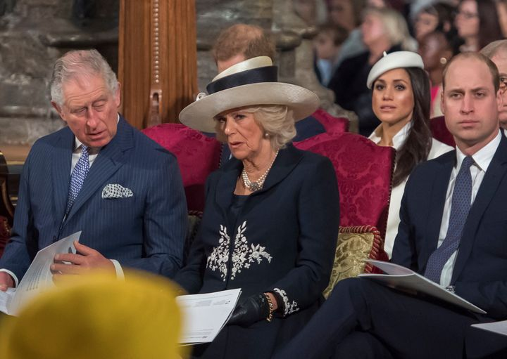 Prince Charles, left, will walk Meghan Markle, second from right, down the aisle at her royal wedding to Prince Harry on Satu