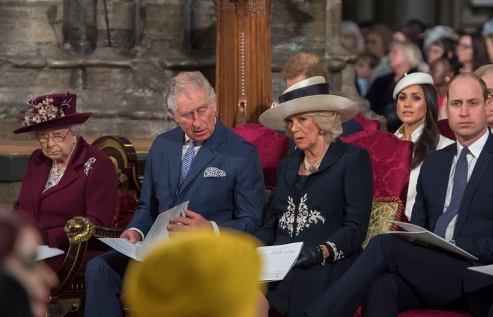 Prince Charles, left, will walk Meghan Markle, second from right, down the aisle at her royal wedding to Prince Harry on Saturday.