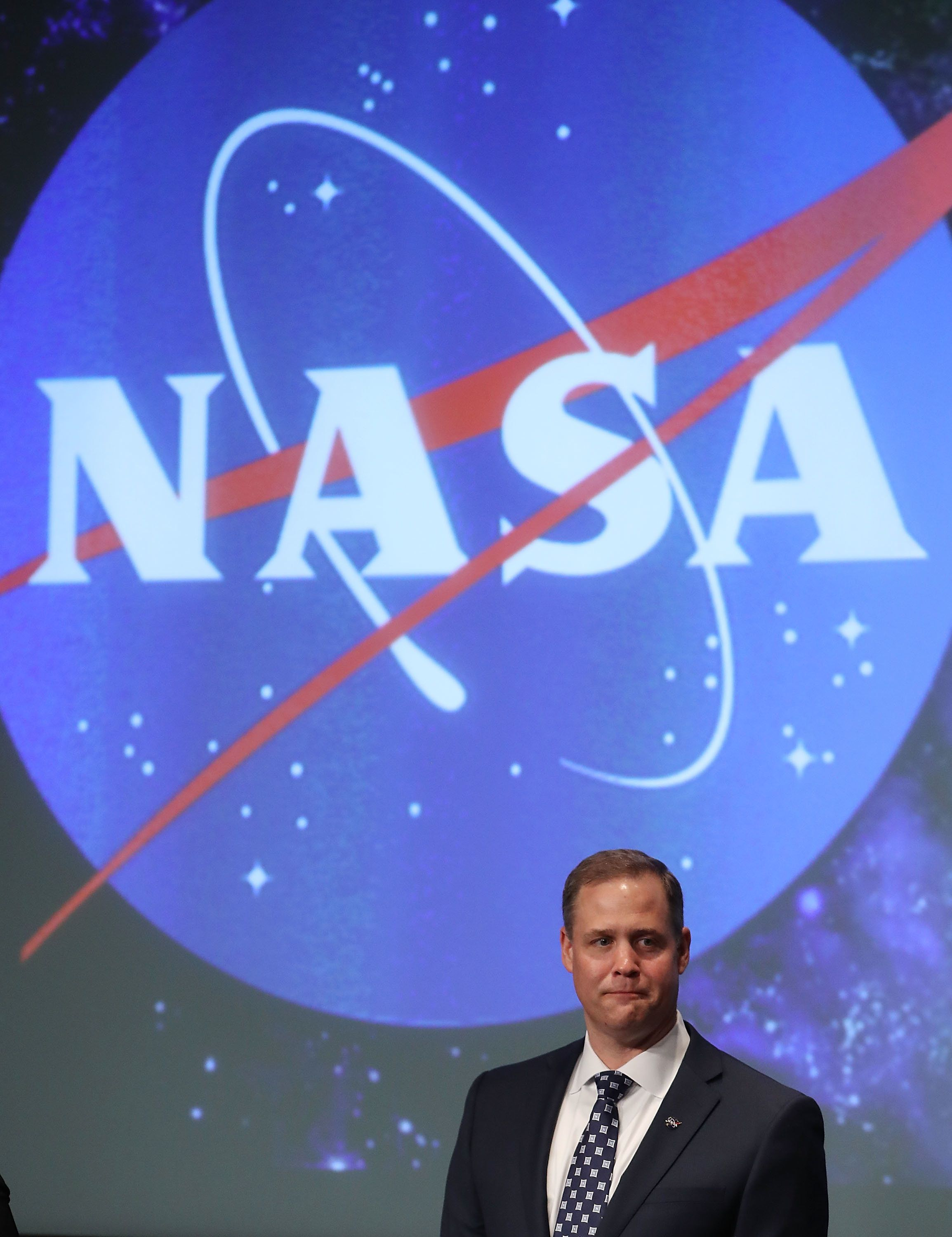 WASHINGTON, DC - APRIL 23:  Jim Bridenstine speaks after he was sworn in as NASA's new administrator by Vice President Mike Pence, during a ceremonial swearing in, at NASA Headquarters on April 23, 2018 in Washington, DC.  (Photo by Mark Wilson/Getty Images)