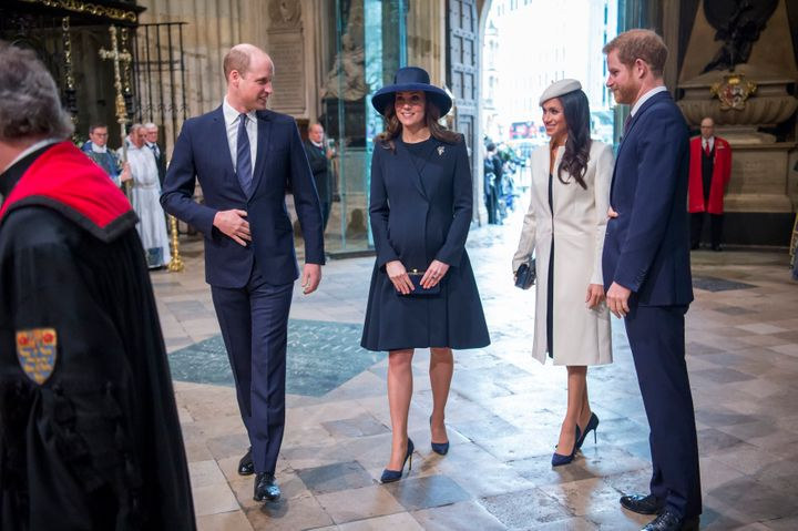 The couple attending the Commonwealth Service at Westminster Abbey with the Duke and Duchess of Cambridge