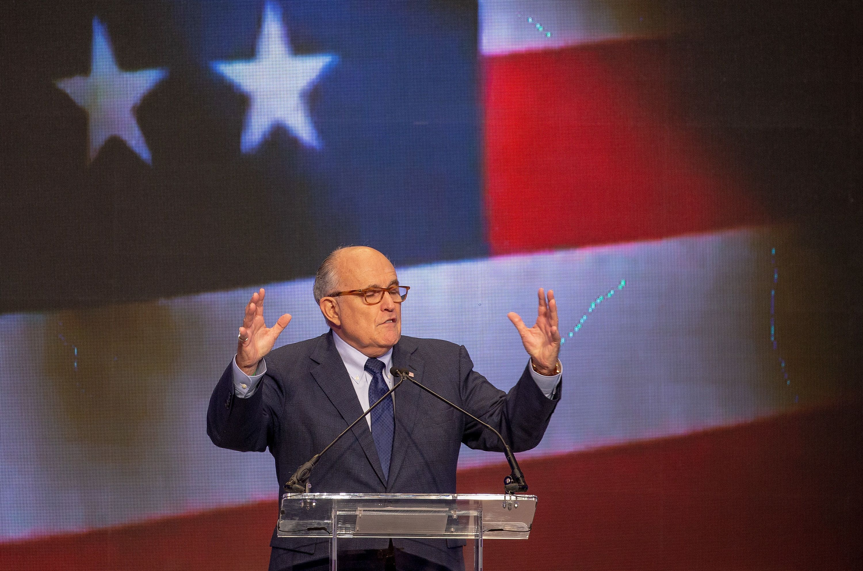 WASHINGTON, DC - MAY 05:  Latest appointee to President Donald Trump's legal team and former Mayor of New York City  Rudy Giuliani speaks at the Conference on Iran on May 5, 2018 in Washington, DC. Over one thousand delegates from representing Iranian communities from forty states attends the Iran Freedom Convention for Human Rights and Democracy.  (Photo by Tasos Katopodis/Getty Images)