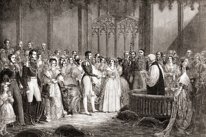 The marriage of Queen Victoria and Prince Albert of Saxe-Coburg and Gotha, 10 February 10, 1840. The queen wore a white dress, which was seen as unconventional at the time.