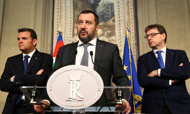 League party leader Matteo Salvini speaks to the media during the second day of consultations with Italian...