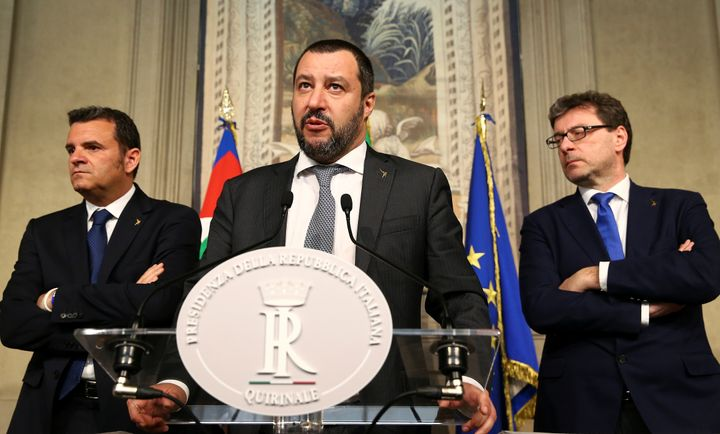 League party leader Matteo Salvini speaks to the media during the second day of consultations with Italian President Sergio M