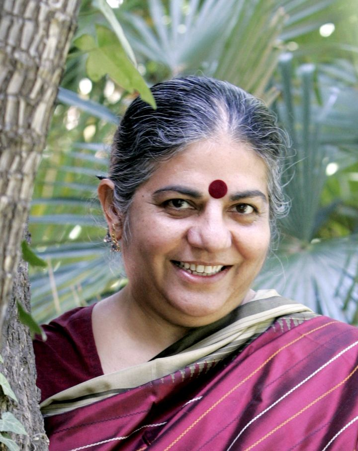 "Vandana Shiva campaigns against ""seed slavery"" and promotes biodiversity."