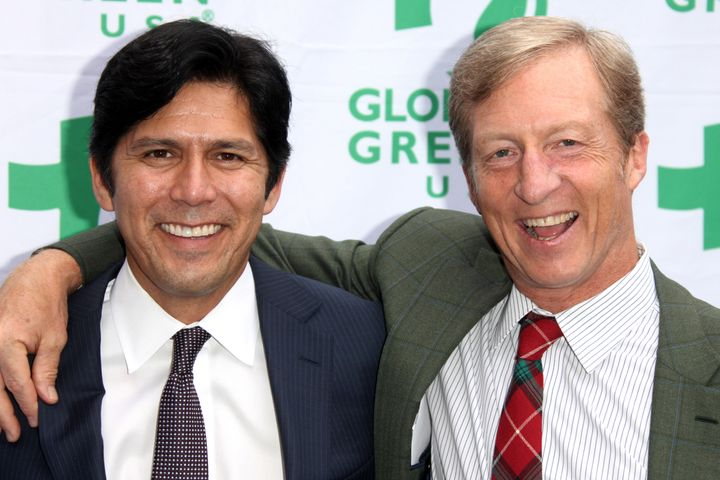 Steyer rarely gets involved in Democratic primaries, but he has endorsed California state Sen. Kevin de Leon (left), who is c