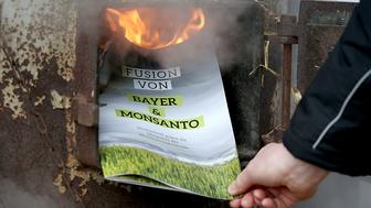 A protester burns a leaflet during a demonstration on the sidelines of the general assembly of German pharmaceutical group Bayer and planned merger between Bayer and US seed and pesticide maker Monsanto, on April 28, 2017 in Bonn.   / AFP PHOTO / dpa / Oliver Berg / Germany OUT        (Photo credit should read OLIVER BERG/AFP/Getty Images)