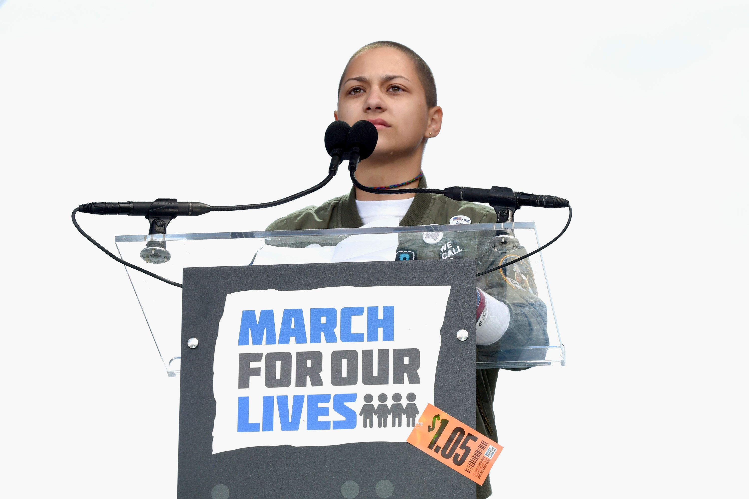 WASHINGTON, DC - MARCH 24:  Emma Gonzalez poses onstage at March For Our Lives on March 24, 2018 in Washington, DC.  (Photo by Kevin Mazur/Getty Images for March For Our Lives)