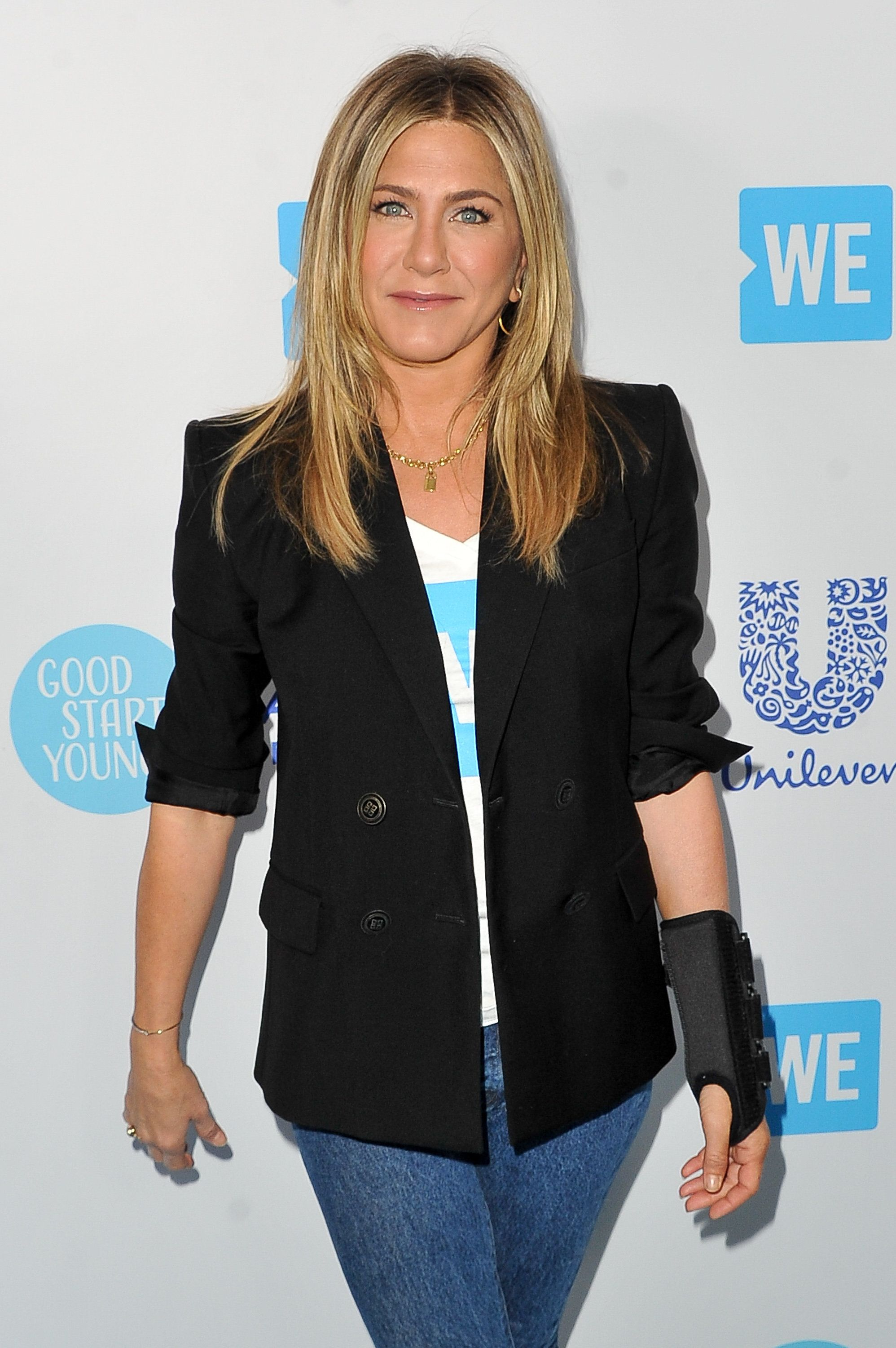 INGLEWOOD, CA - APRIL 19:  Jennifer Aniston attends WE Day California at The Forum on April 19, 2018 in Inglewood, California.  (Photo by Allen Berezovsky/FilmMagic)