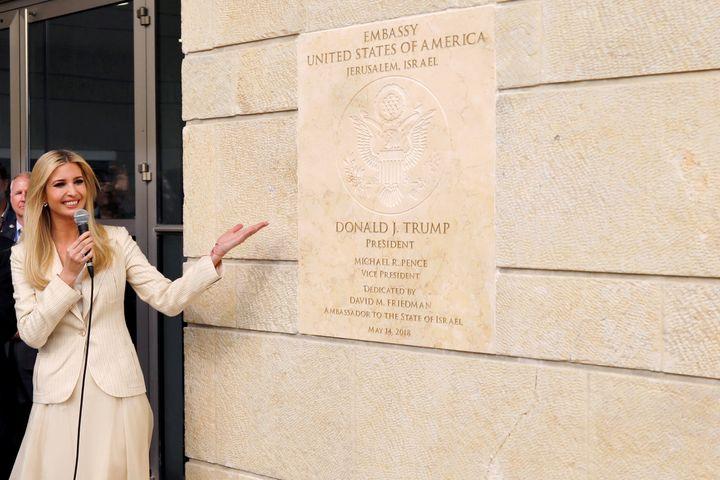 The president's daughterIvanka Trumpspeaks at the dedication of the U.S. Embassy in Jerusalem on Monday.