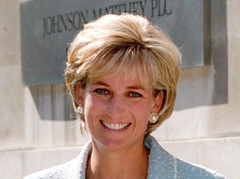 LONDON, UNITED KINGDOM - APRIL 21:  Diana, Princess Of Wales, Leaving The British Lung Foundation In Hatton Garden After Being Presented With A Bouquet Of The First Rose Named After Her.  (Photo by Tim Graham/Getty Images)
