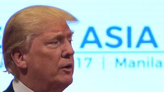 US President Donald Trump talks to the press after attending the 31st Association of Southeast Asian Nations (ASEAN) Summit in Manila on November 14, 2017. The US president was in the Philippines with leaders of 18 other nations for two days of summits, the final leg of a headline-grabbing Asian tour dominated by the North Korean nuclear crisis. / AFP PHOTO / JIM WATSON        (Photo credit should read JIM WATSON/AFP/Getty Images)