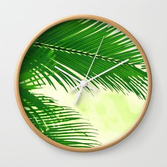 "Get it on <a href=""https://www.etsy.com/listing/560283491/palm-tree-print-wall-clock-palm-tree"" target=""_blank"">Etsy</a>, $43"