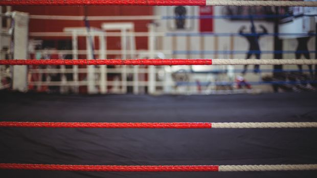 Close-up of boxing ring rope