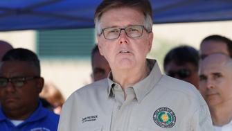SANTA FE, TX - MAY 18: Texas Lt. Governor Dan Patrick speaks during a press conference about the shooting incident at Santa Fe High School May 18, 2018 in Santa Fe, Texas. At least 10 people were killed when a gunman opened fire at Santa Fe High school. Police arrested a student suspect and detained a second person. (Photo by Bob Levey/Getty Images)
