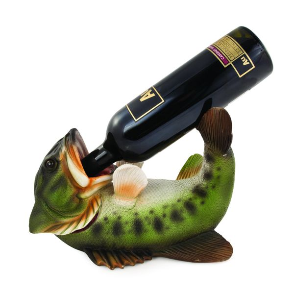 "Does your dad drink like a fish? Now he <a href=""https://www.houzz.com/product/42921839-boozy-bass-bottle-holder-contemp"