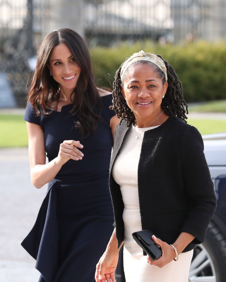 Markle and her mother, Doria Ragland, arriving at  Cliveden House Hotel on the day before the