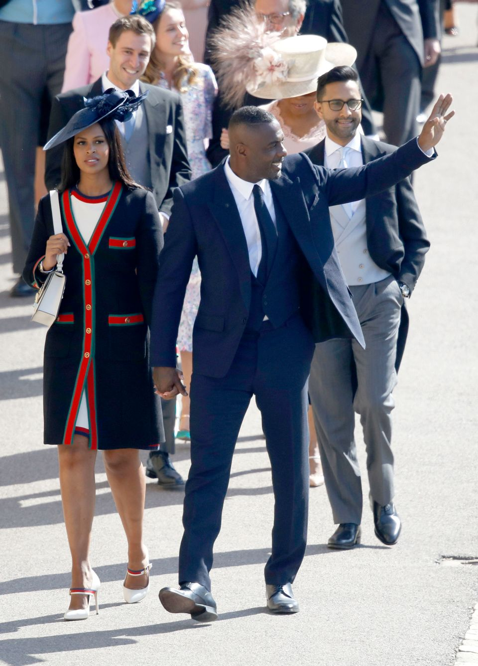 Idris Elba and Sabrina Dhowre arriving at the