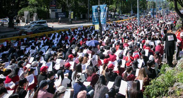 불법촬영 편파수사 규탄 집회에 '염산 테러' 예고한 남성이