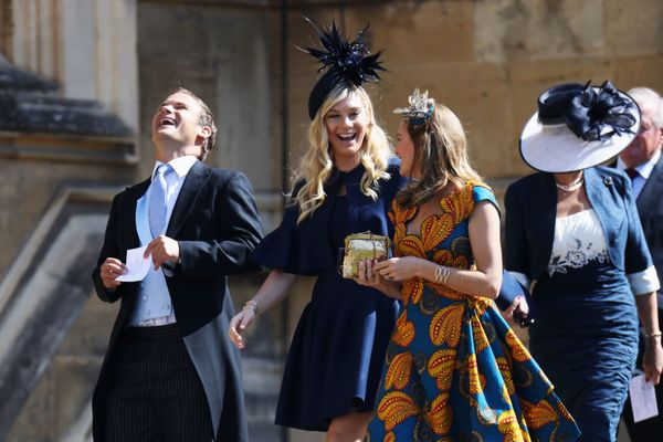 "Chelsy Davy, center, was <a href=""https://www.huffingtonpost.com/entry/prince-harry-ex-girlfriends-royal-wedding_us_5b002402e"