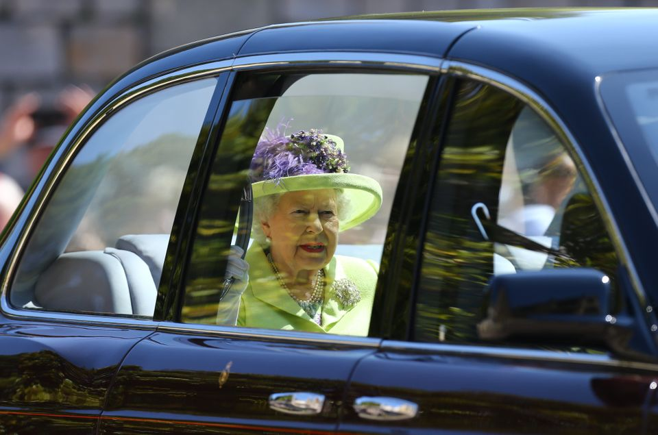 The Queen arriving to see her grandson