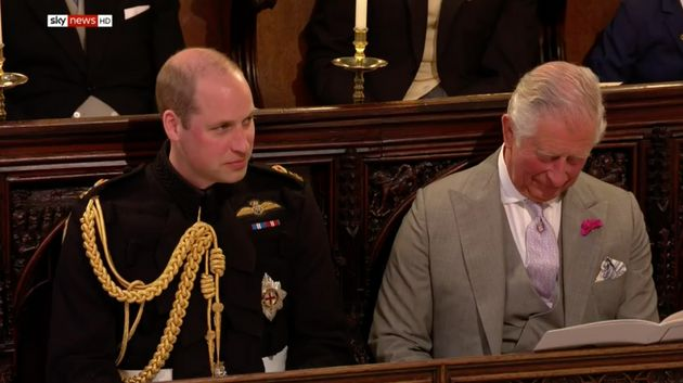 Prince William, next to his father Prince Charles, both appeared to be enjoying the