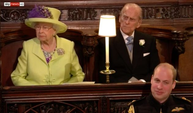 The Queen does not look amused - unlike her grandson and best man on the day, Prince
