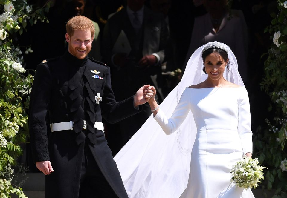 Prince Harry and his new bride on the steps of St George's