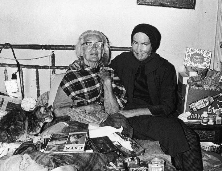 """Big Edie"" and ""Little Edie"" during the filming of ""Grey Gardens."""