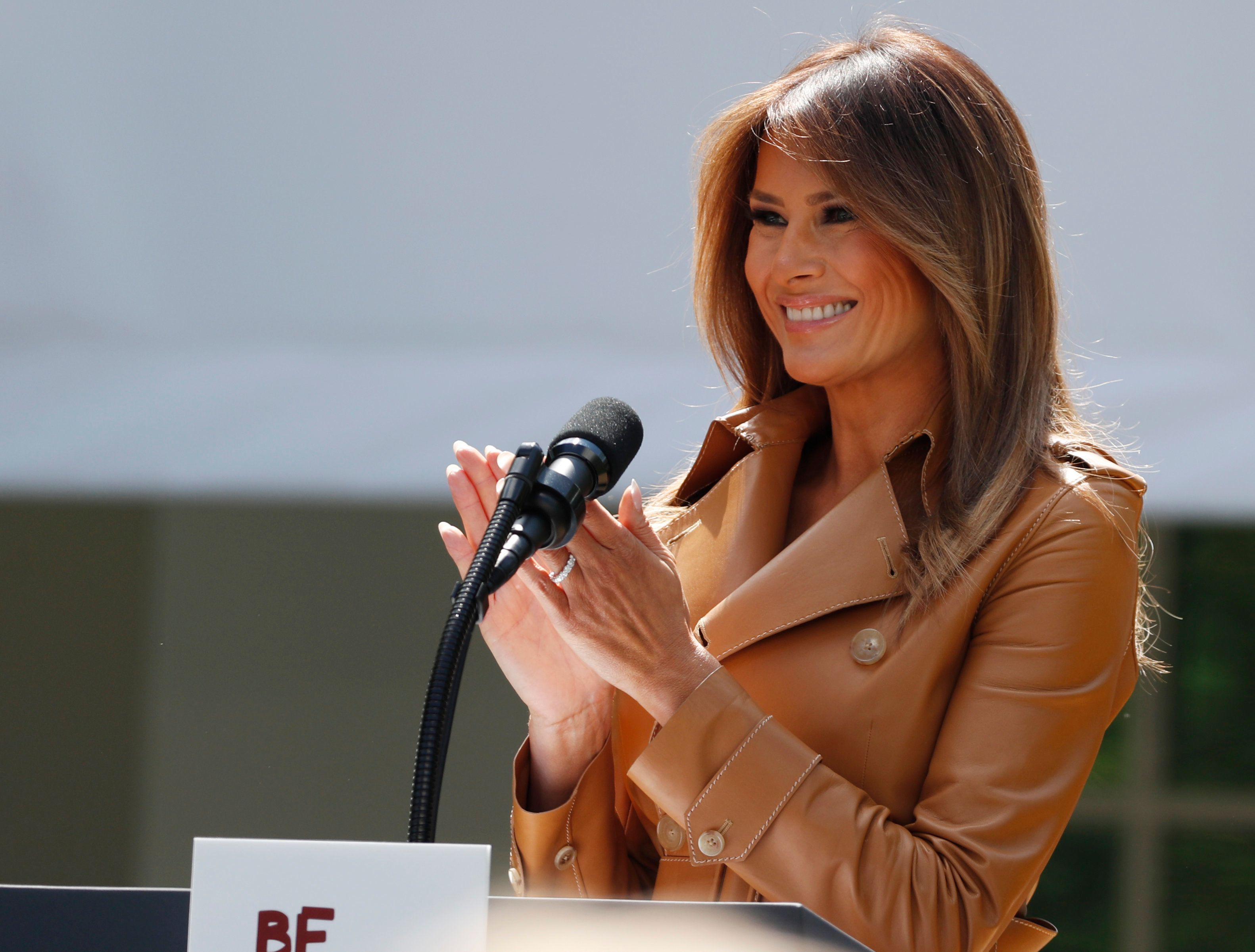 "U.S. first lady Melania Trump delivers remarks at the ""launch of her Be Best initiatives in the Rose Garden of the White House in Washington, U.S., May 7, 2018."