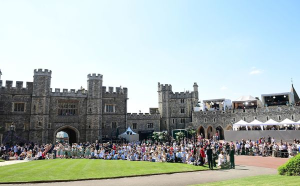 A general view of well-wishers outside St George's Chapel gathered for the wedding ceremony on Saturday.