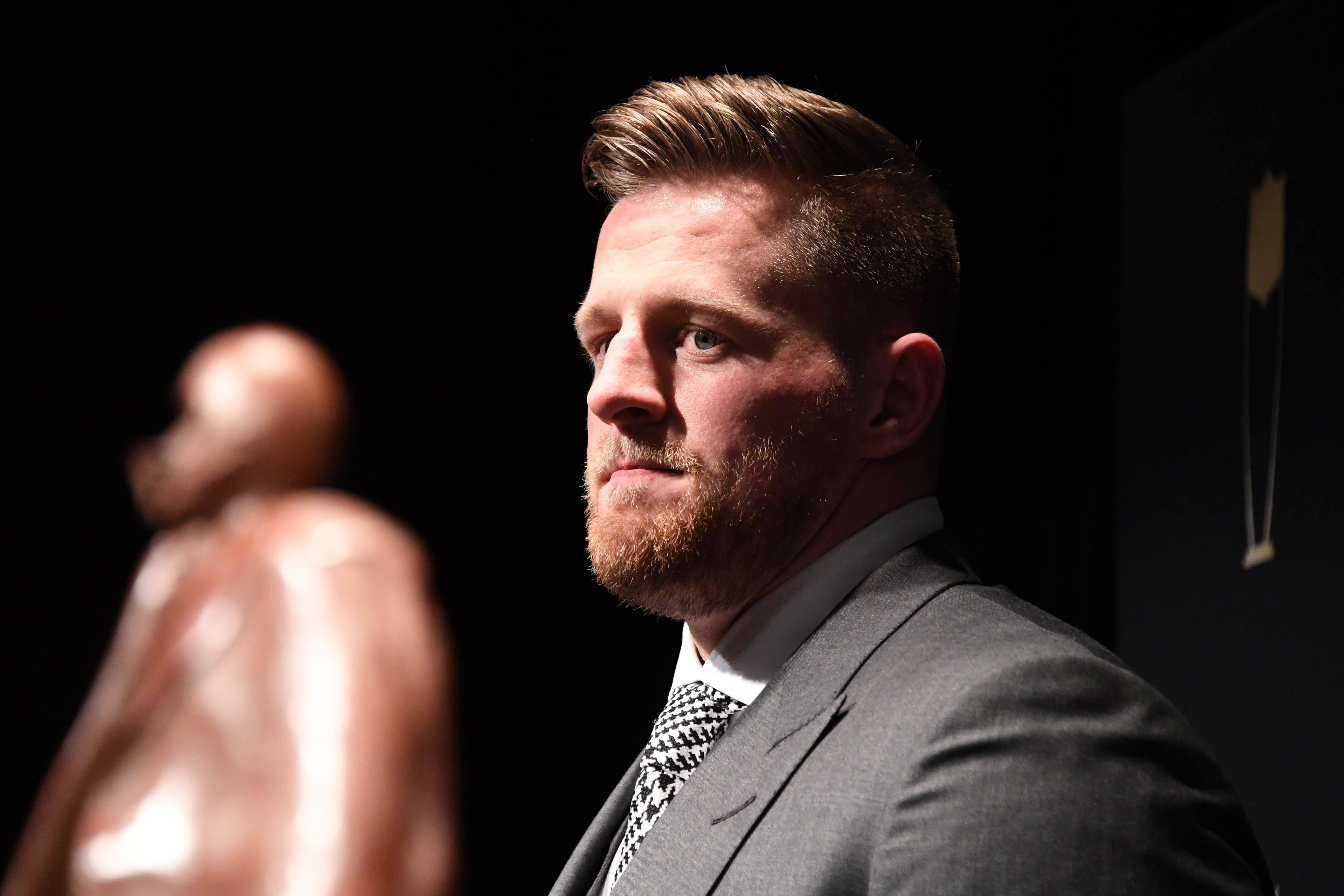 Feb 3, 2018; Minneapolis, MN, USA; Walter Payton NFL Man of the Year winner J.J. Watt of the Houston Texans during media availabilities during the NFL Honors show at Cyrus Northrop Memorial Auditorium at the University of Minnesota. Mandatory Credit: Kirby Lee-USA TODAY Sports