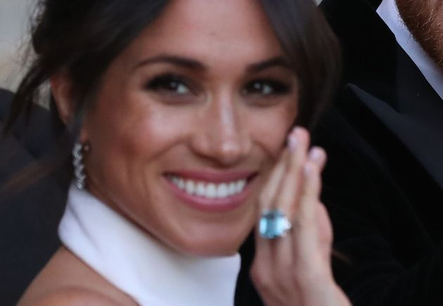 The ring was caught in several photographs taken as the newlyweds left Windsor Castle on Saturday