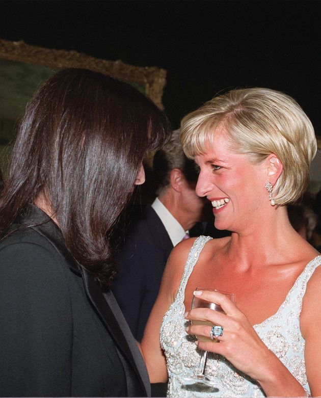 Diana, Princess of Wales, pictured wearing a large emerald ring in a style similar to that of a ring...