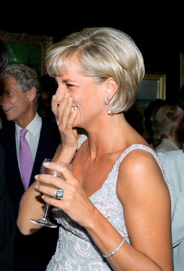 Diana, Princess of Wales, pictured on June 2nd 1997 in New York, wearing a large emerald design