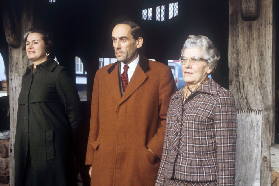 Jeremy Thorpe, with his wife Marion (L) and mother Ursula outside