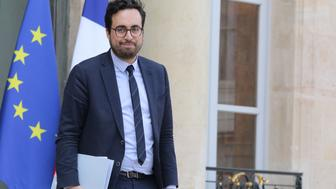 French Junior Minister for the Digital Sector Mounir Mahjoubi leaves the Elysee Presidential Palace after the weekly cabinet meeting, on April 11, 2018 in Paris.  / AFP PHOTO / LUDOVIC MARIN        (Photo credit should read LUDOVIC MARIN/AFP/Getty Images)