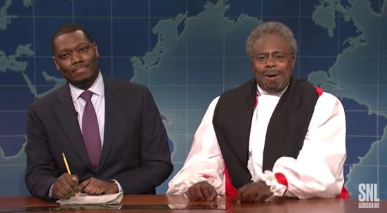 Kenan Thompson playingBishop Curry, withMichael