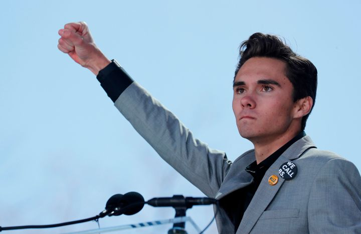 David Hogg, pictured at the March for Our Lives rally in Washington, D.C., on March 24.