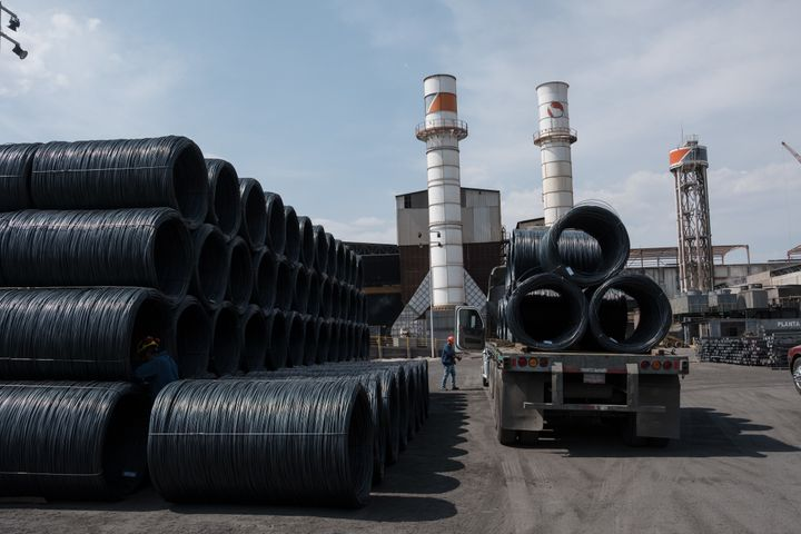 A truck carries coils of steel wire at the Grupo Acerero SA steel processing facility in San Luis Potosi, Mexico, on March 6.