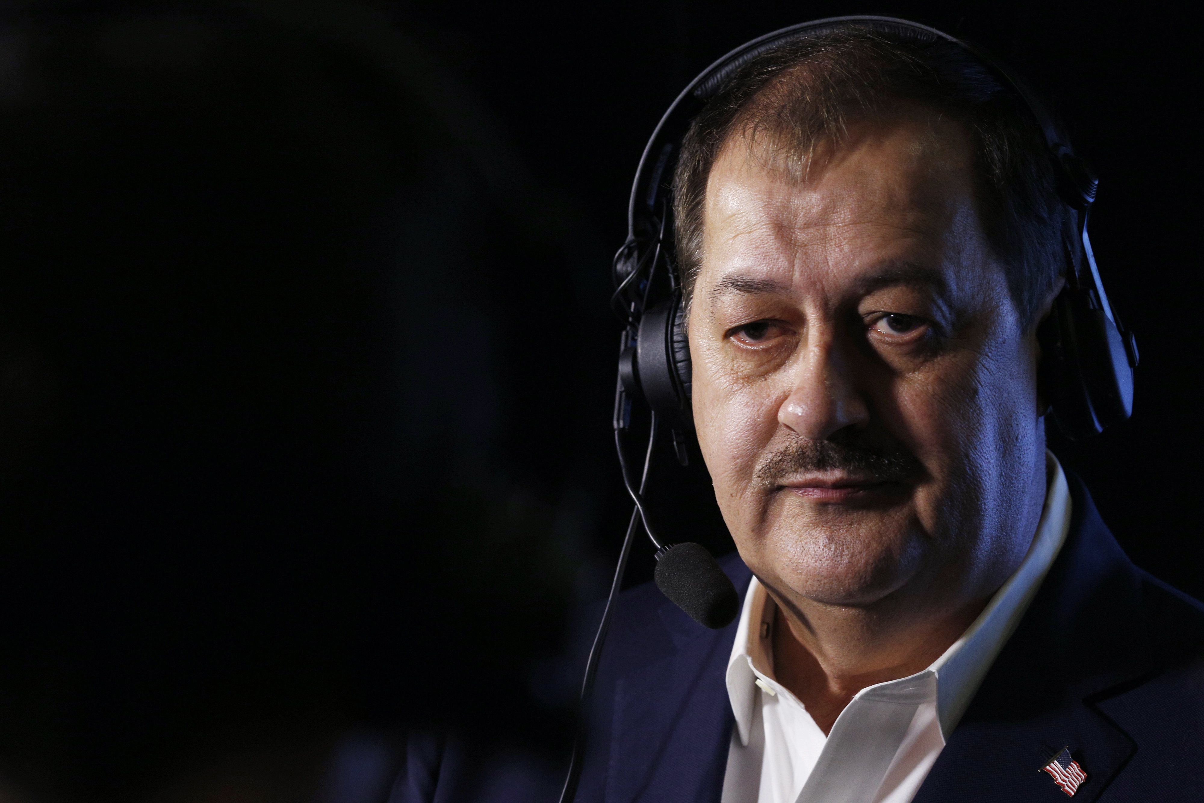 Former Massey Energy CEO Don Blankenship, Republican U.S. Senate candidate from West Virginia, wears a headset while speaking to the media during an election night event in Charleston, West Virginia, U.S., on Tuesday, May 8, 2018. Republican officials were thrown into a panic on the cusp of Tuesday's three crucial Senate primaries as they confronted a late surge by controversial and confrontational candidate Blankenship. Photographer: Luke Sharrett/Bloomberg via Getty Images