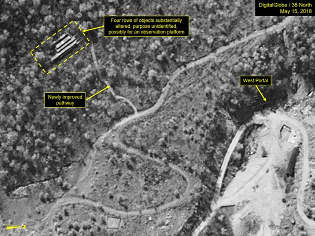 5월15일 촬영된 위성 사진. 언덕 위에 건물이 생겼다. 관측을 위한 시설로