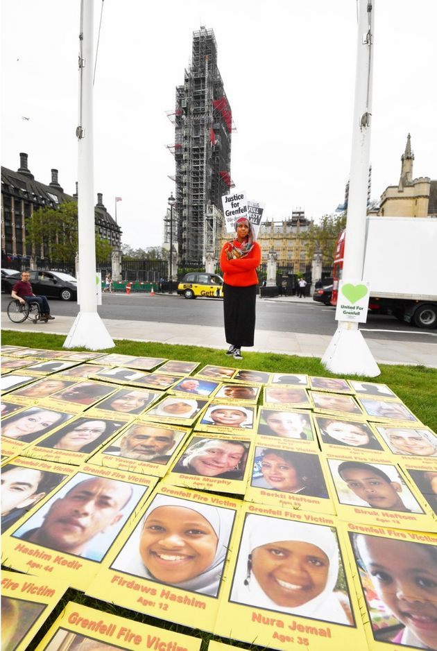A protest outside Parliament over the Grenfell Tower inquiry