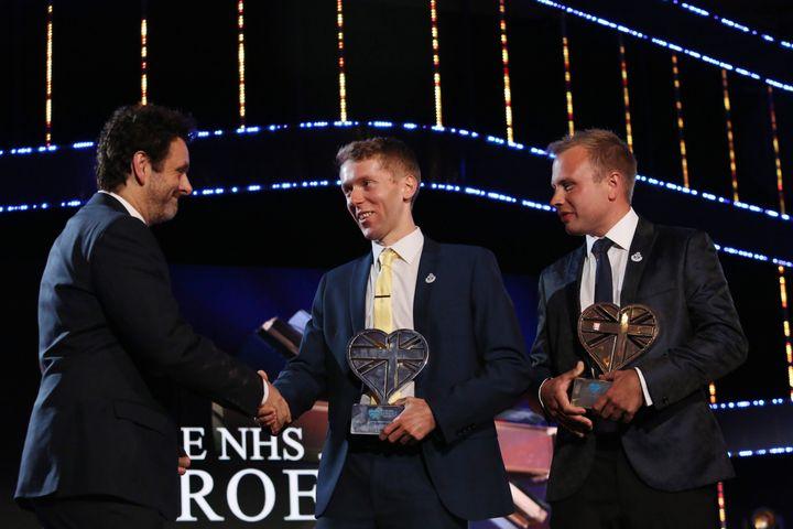 Michael Sheen presented Rich Morton (left) and Dan Farnworth (right) with the 'mental health champion' award.