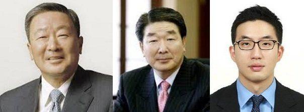 (왼쪽부터) 구본무 LG 회장, 구본준 부회장, 구광모