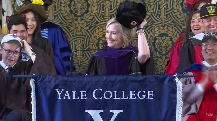 As per Yale tradition, Hillary Clinton brought a hat to commencement.