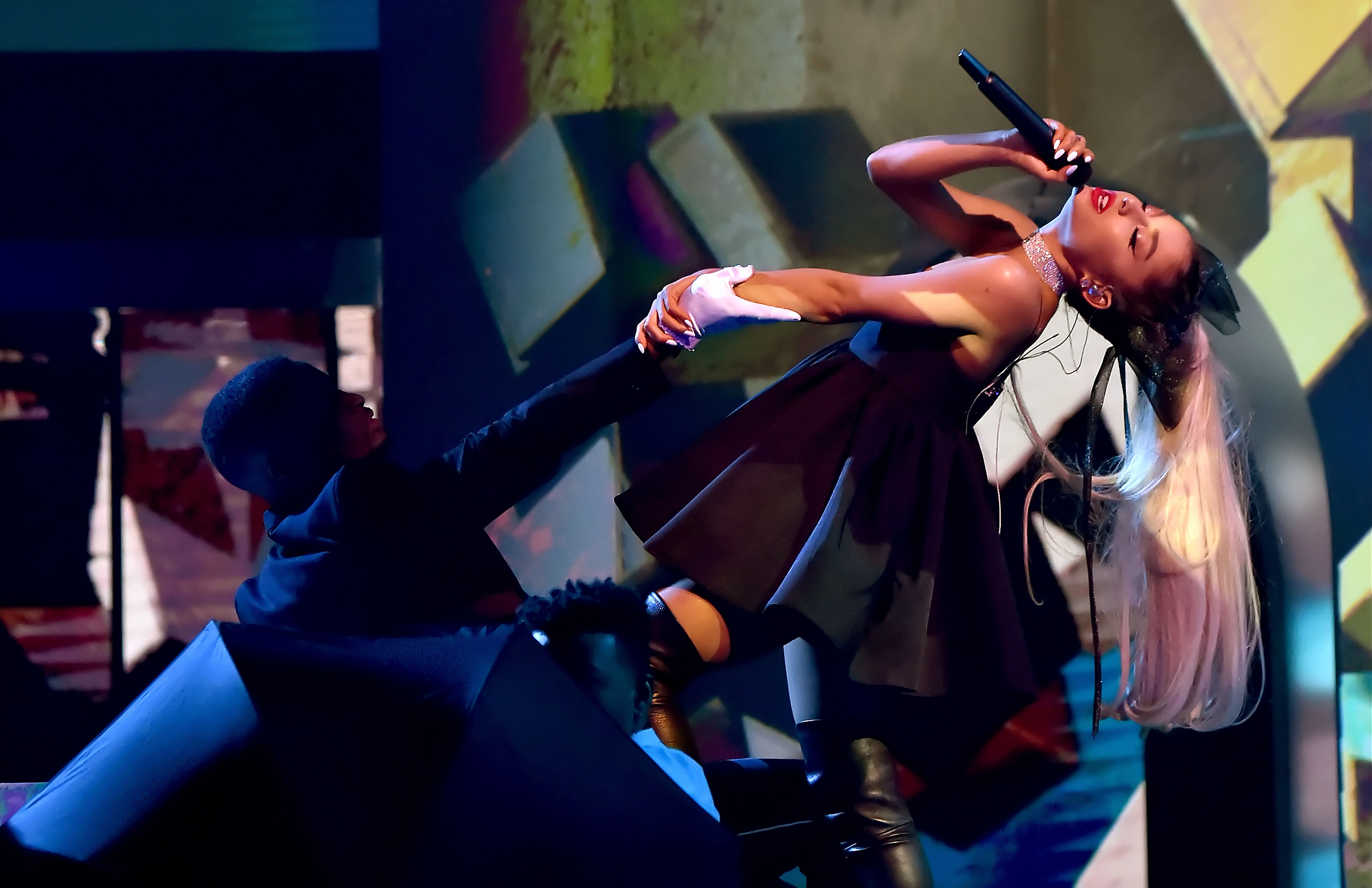 Ariana performing at the Billboard Music Awards over the